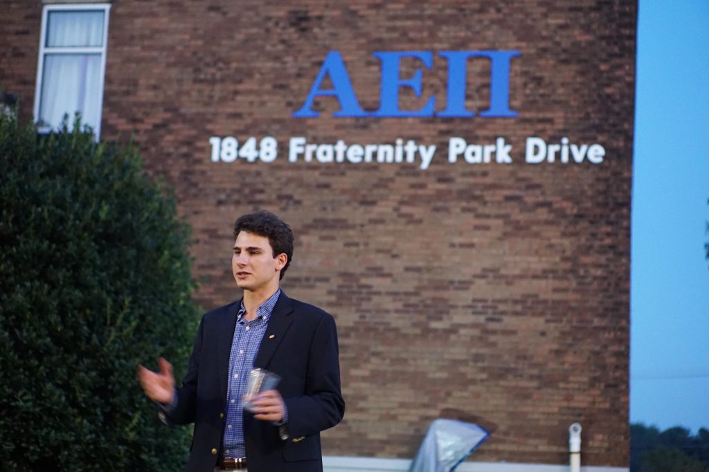 Brother Master Benji Ballin addressing brothers upon opening of new AEPi Tennessee house.