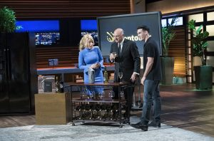 """SHARK TANK - """"Episode 907"""" - Two firefighters and entrepreneurs from Pembroke Pines, Florida, introduce their healthy, smoked fish dip; a hair- and beard-cutting template from an entrepreneur in Chapel Hill, North Carolina; two entrepreneurs from Vancouver, Washington, who created a unique hybrid of a stuffed animal and blanket for families on the go; and a device that chills an entire bottle of wine in just 30 seconds from an entrepreneur in San Francisco, California, on """"Shark Tank,"""" SUNDAY, NOV. 12 (10:00-11:00 p.m. EST), on The ABC Television Network. (ABC/Eddy Chen)"""