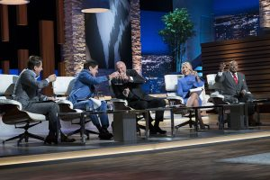 """SHARK TANK - """"Episode 907"""" - Two firefighters and entrepreneurs from Pembroke Pines, Florida, introduce their healthy, smoked fish dip; a hair- and beard-cutting template from an entrepreneur in Chapel Hill, North Carolina; two entrepreneurs from Vancouver, Washington, who created a unique hybrid of a stuffed animal and blanket for families on the go; and a device that chills an entire bottle of wine in just 30 seconds from an entrepreneur in San Francisco, California, on """"Shark Tank,"""" SUNDAY, NOV. 12 (10:00-11:00 p.m. EST), on The ABC Television Network. (ABC/Eddy Chen) LORI GREINER, KEVIN O'LEARY, ALEXANDER SIMONE (PRONTO CONCEPTS)"""
