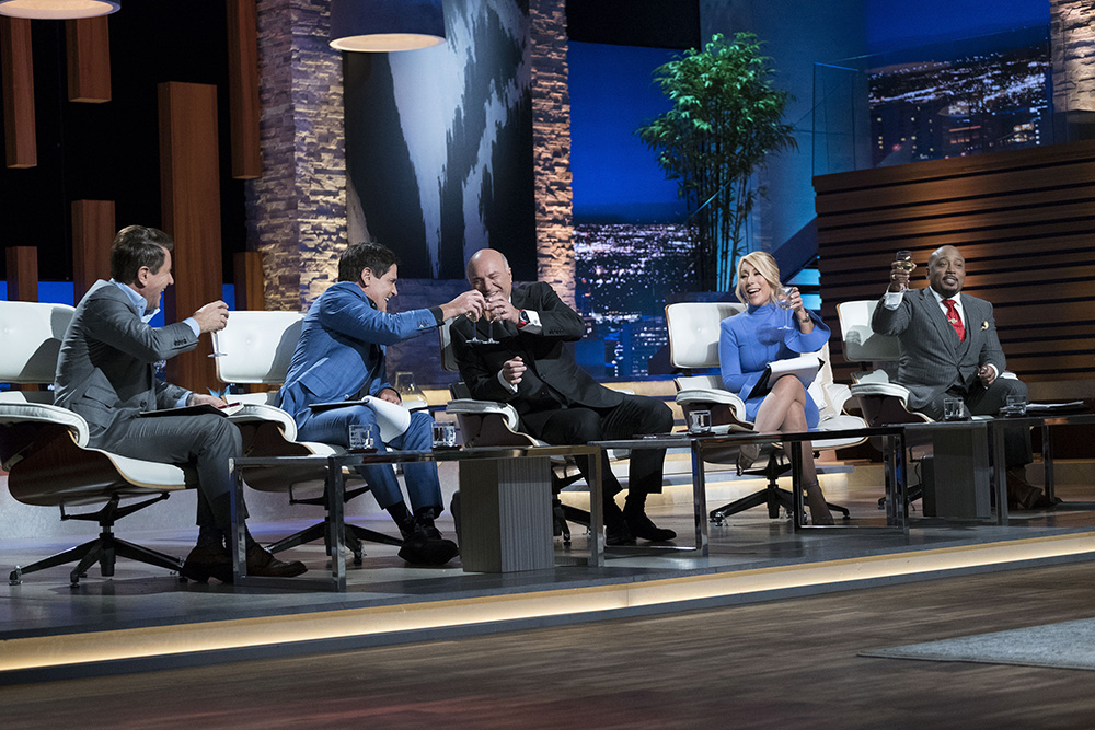 "SHARK TANK - ""Episode 907"" - Two firefighters and entrepreneurs from Pembroke Pines, Florida, introduce their healthy, smoked fish dip; a hair- and beard-cutting template from an entrepreneur in Chapel Hill, North Carolina; two entrepreneurs from Vancouver, Washington, who created a unique hybrid of a stuffed animal and blanket for families on the go; and a device that chills an entire bottle of wine in just 30 seconds from an entrepreneur in San Francisco, California, on ""Shark Tank,"" SUNDAY, NOV. 12 (10:00-11:00 p.m. EST), on The ABC Television Network. (ABC/Eddy Chen) LORI GREINER, KEVIN O'LEARY, ALEXANDER SIMONE (PRONTO CONCEPTS)"