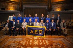 Supreme Master Elect Jeff Jacobson (Northern Arizona, 1992) leads initiation of twelve new AEPi brothers.