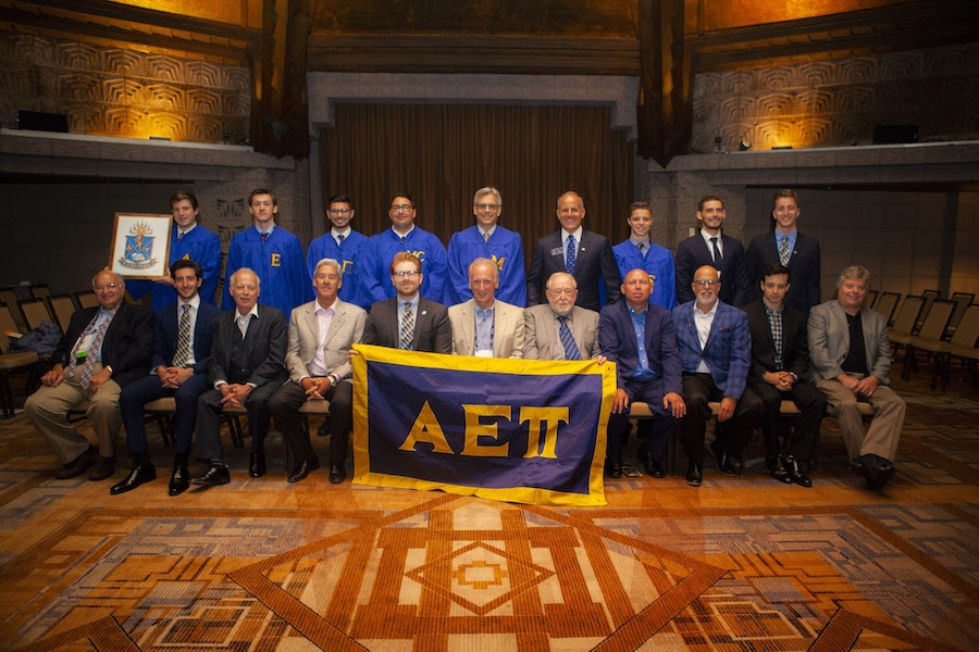 Supreme Master Elect Jeff Jacobson (Northern Arizona, 1992) leads initiation of twelve new AEPi brothers.