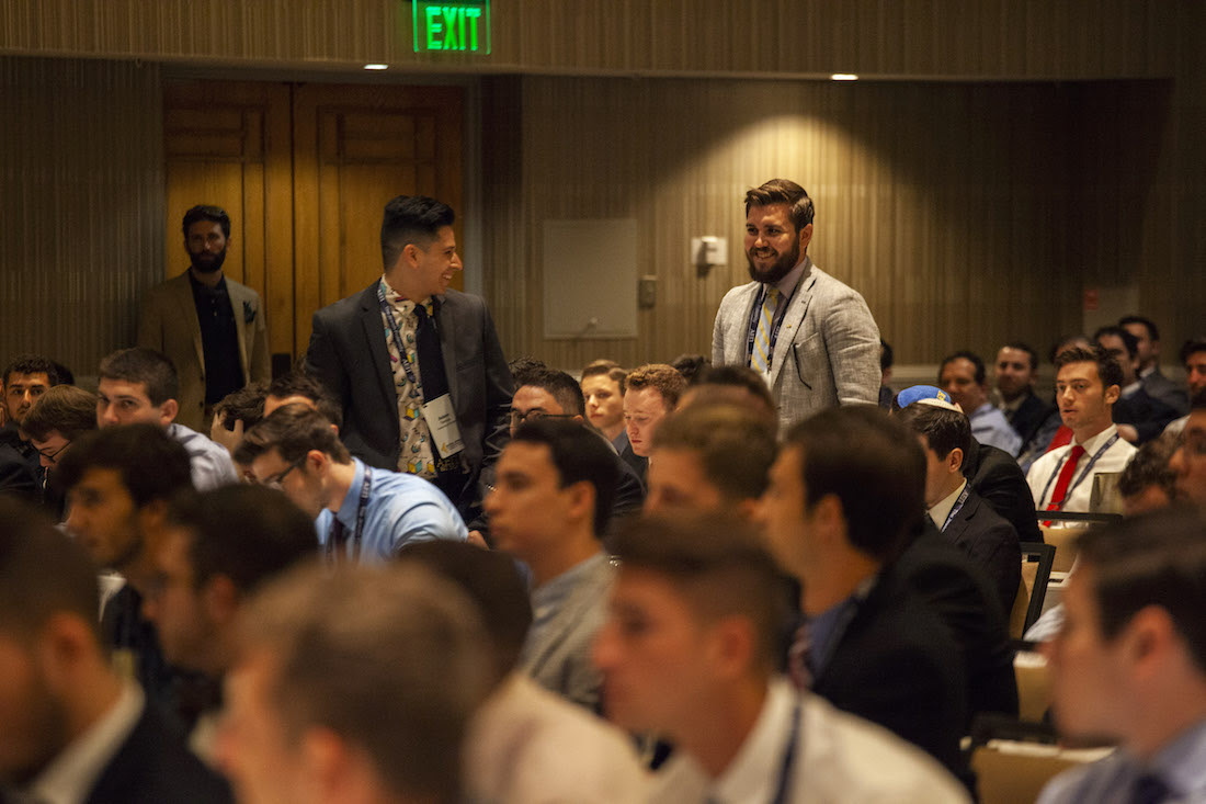 Adam Tankus (Guelph, 2019) and Adam Volman (St. Andrews, 2019) stand to be recognized as brothers of AEPi's first Undergraduate Cabinet.