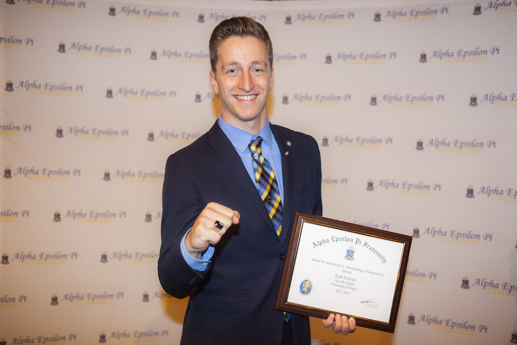 Kyle Kravitz (Tampa, 2019) after winning the David M. Bacharach Most Outstanding Undergraduate Award