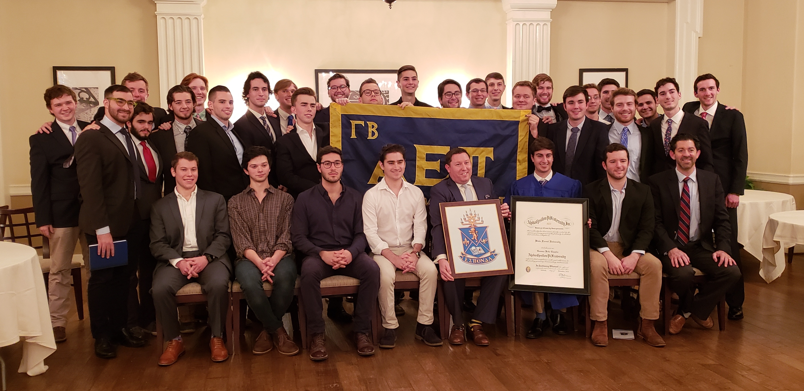 Wake Forest Chartering - Gamma Beta Brothers pose for a group photo with Supreme Scribe Scott Knapp (Florida State, 2002).
