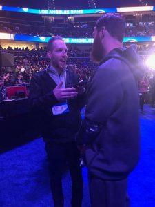 Will Collins (Kent State, 2014) at Super Bowl Week talking to Julian Edelman