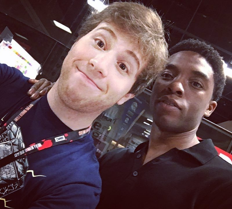 Josh Weiss and Chadwick Boseman from Black Panther