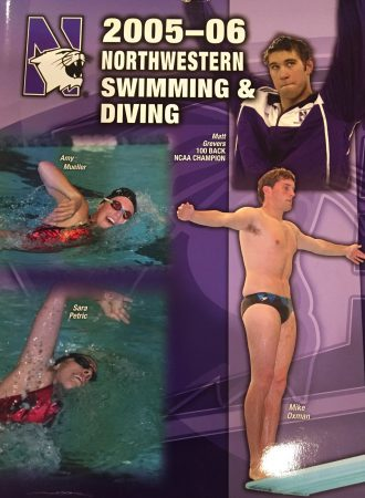 Brother Oxman featured on the Northwestern Swimming & Diving program cover