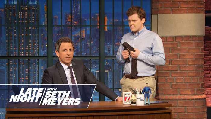 "Brother Ben Warheit (right) appearing in a sketch on ""Late Night with Seth Myers"""