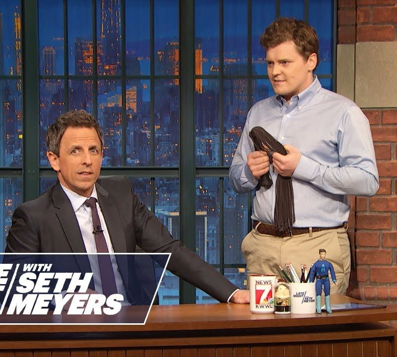 """Brother Ben Warheit (right) appearing in a sketch on """"Late Night with Seth Myers"""""""