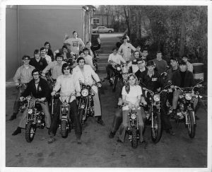 Photo of Brothers on their motorcycles at Memphis State in 1973.